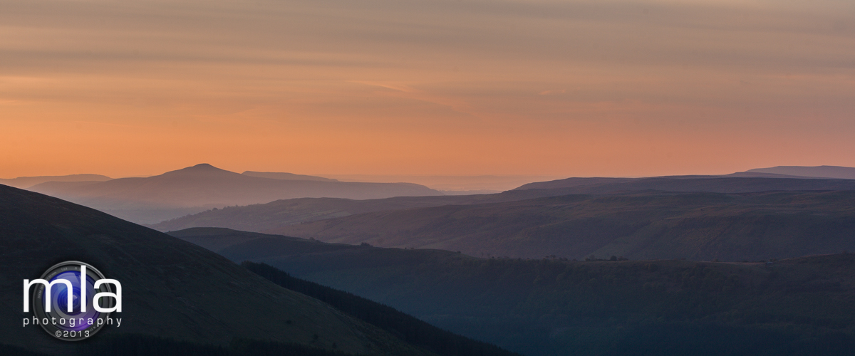 Sunrise over the Sugar Loaf mountain in the Black Mountains